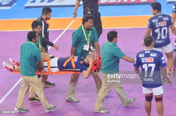 Dabang Delhi Captain Meraj Sheykh Injured during Bengal Warriors vs Dabang Delhi at the PRO KABADDI on September 072017 in Kolkata Netaji Indoor...