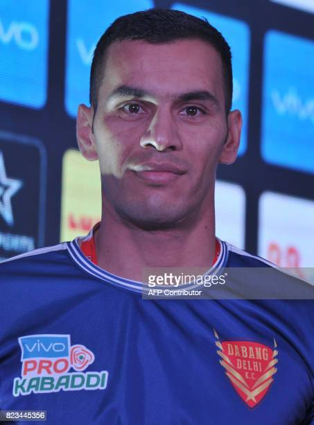 Dabang Delhi Team kabaddi captain Meraj Sheykh poses during an event for the fifth edition of the Pro Kabaddi League 2017 in Hyderabad on July 27...