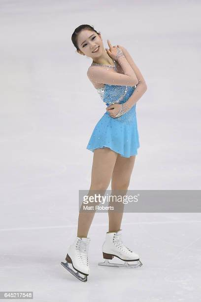 Dabin Choi of Korea competes in the women's figure skating on the day eight of the 2017 Sapporo Asian Winter Games at Makomanai indoor skating rink...