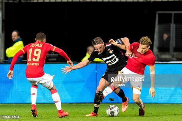 Dabney dos Santos of AZ Ben Rienstra of Willem II Jonas Svensson of AZ during the Dutch Eredivisie match between AZ Alkmaar and Willem II Tilburg at...