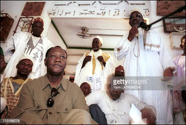 Dabou Republican gathering President Alassane Ouattara on presidential tour in Dabou Cote d'Ivoire on August 25 2000 At the mosque