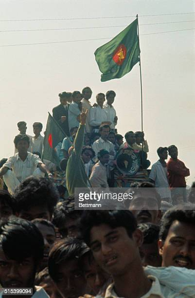 Various views of welcoming crowds and demonstration groups who turned out for the homecoming of Sheikh Mujibur Rahman first national hero of the new...