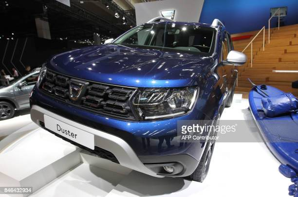 A Dacia Duster is presented at the Frankfurt Auto Show IAA in Frankfurt am Main Germany on September 13 2017 According to organisers around 1000...