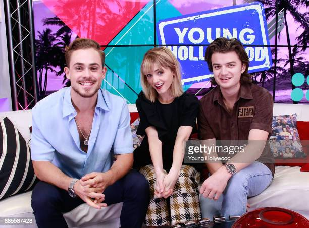 Dacre Montgomery Natalia Dyer and Joe Keery at the Young Hollywood Studio on October 23 2017 in Los Angeles California