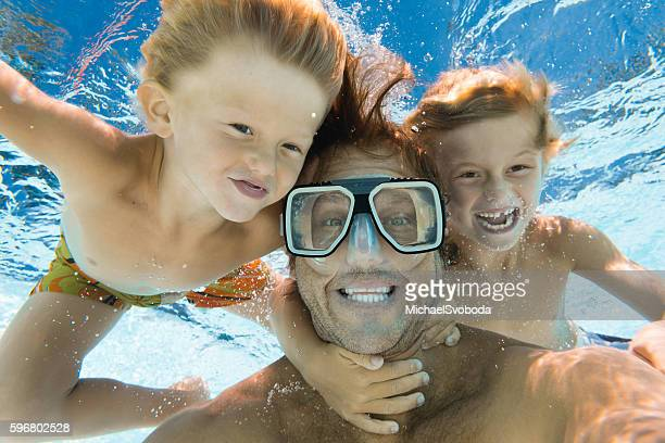 Dad and Sons Having Fun Doing A Selfie Underwater