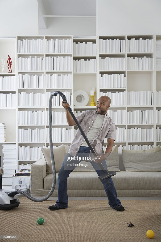 Dad doing housework.