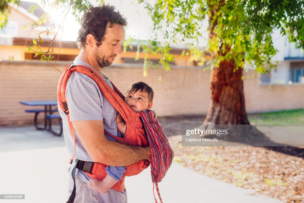Dad With Baby In Carrier : Stock Photo