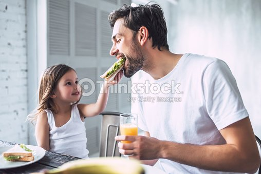 Dad with daughter at home : Foto stock