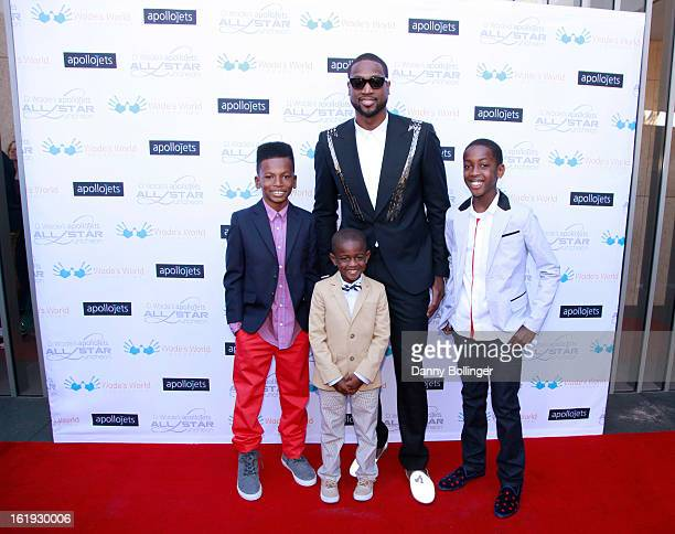 Dada Morris Zion Wade Dwyane Wade and Zaire Wade attend D Wade's Apollo Jets All Star Luncheon on February 16 2013 in Houston Texas