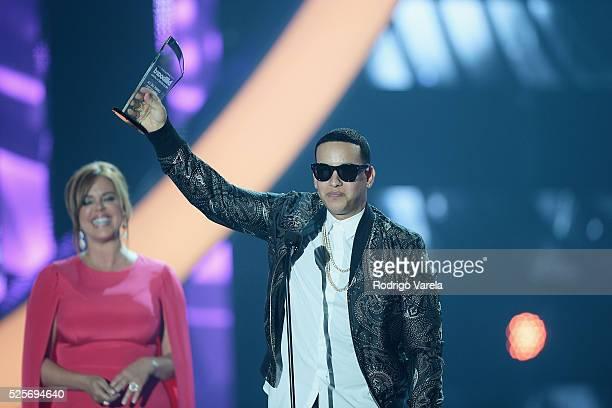Daddy Yankee receives award at the Billboard Latin Music Awards at Bank United Center on April 28 2016 in Miami Florida