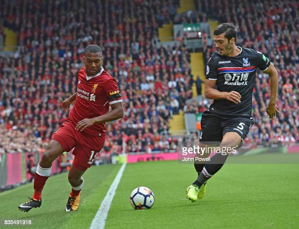 Dadniel Sturridge of Liverpool with James Tomkins of Crystal Palace during the Premier League match between Liverpool and Crystal Palace at Anfield...
