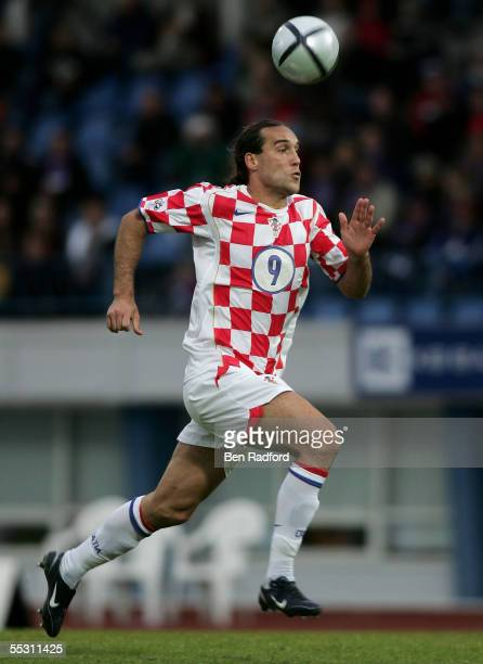 Dado Prso of Croatia in action during the 2006 World Cup qualifying match between Iceland and Croatia at Laugardalsvollur Stadium on September 3 in...