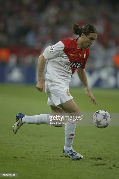 Dado Prso of Monaco runs with the ball during the UEFA Champions League Final match between AS Monaco and FC Porto at the AufSchake Arena on May 26...