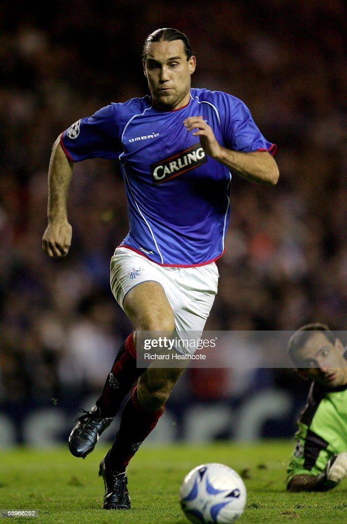 Dado Prso of the Glasgow Rangers controls the ball during the UEFA Champions League group H match against Artmedia Bratislava held at Ibrox October 19, 2005 in Glasgow, Scotland.
