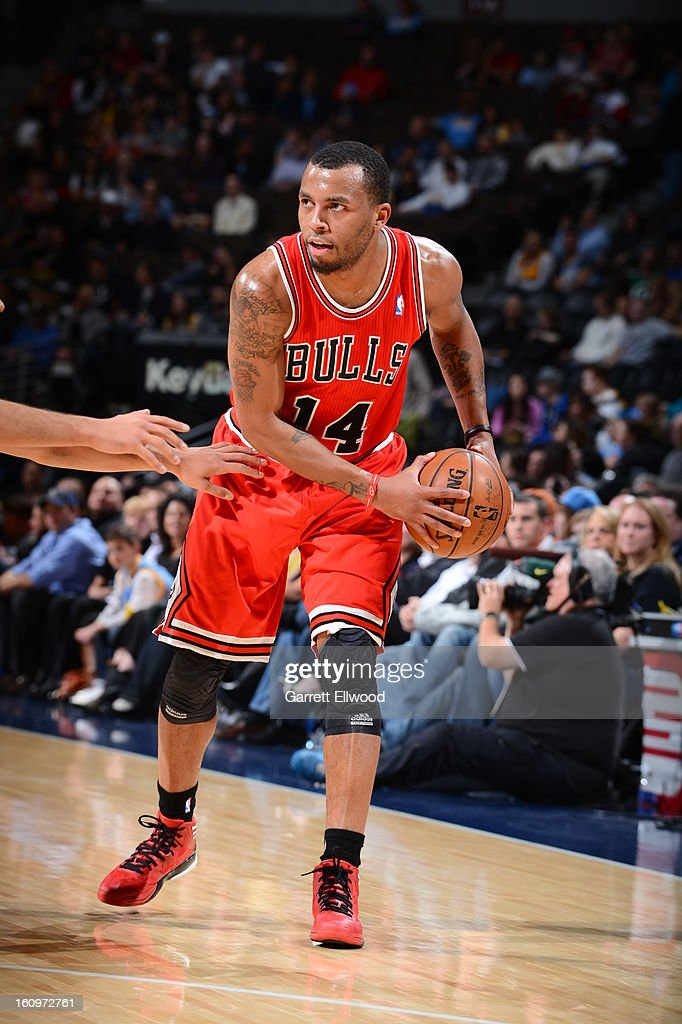 <a gi-track='captionPersonalityLinkClicked' href=/galleries/search?phrase=Daequan+Cook&family=editorial&specificpeople=3847493 ng-click='$event.stopPropagation()'>Daequan Cook</a> #14 of the Chicago Bulls handles the ball against the Denver Nuggets on February 7, 2013 at the Pepsi Center in Denver, Colorado.