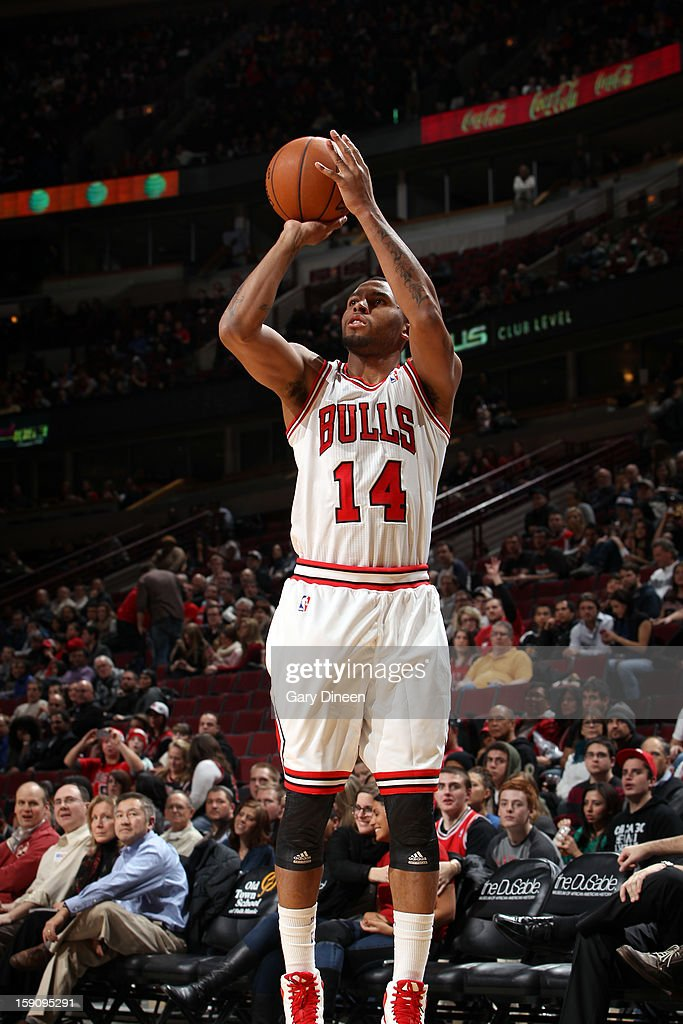 <a gi-track='captionPersonalityLinkClicked' href=/galleries/search?phrase=Daequan+Cook&family=editorial&specificpeople=3847493 ng-click='$event.stopPropagation()'>Daequan Cook</a> #14 of the Chicago Bulls shoots against the Cleveland Cavaliers on January 7, 2013 at the United Center in Chicago, Illinois.