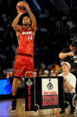 Daequan Cook of the Miami Heat participates in the Foot Locker ThreePoint Shootout on AllStar Saturday Night part of 2009 NBA AllStar Weekend at US...