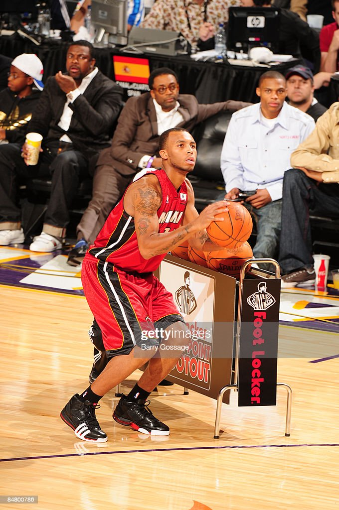 Daequan Cook of the Miami Heat shoots during the Foot Locker ThreePoint Shootout as part of 2009 NBA AllStar Weekend at US Airways Center on February...