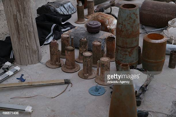Daesh's explosive substances are displayed after they were annihilated in Jarabulus District of Aleppo Syria after taking control of the district's...