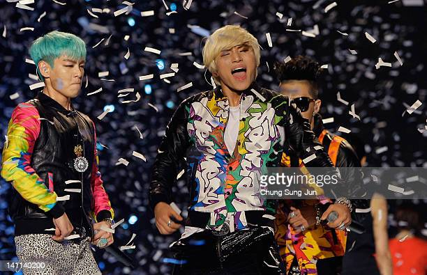 Daesung and TOP of BIGBANG performs on the stage during a concert at the KCollection In Seoul on March 11 2012 in Seoul South Korea