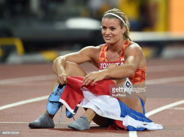 Dafne Schippers of Nederlands after winning the 200 meter final in London at the 2017 IAAF World Championships athletics at the London Stadium in...