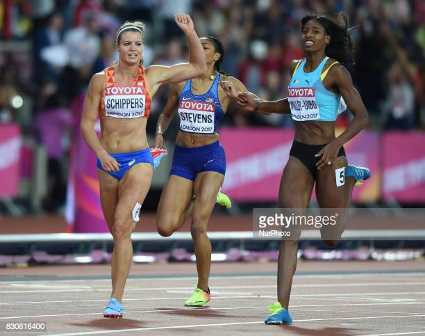 Dafne Schippers of Nederlands winning the 200 meter final in London at the 2017 IAAF World Championships athletics at the London Stadium in London on...