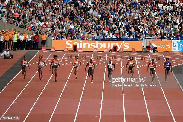 Dafne Schippers of Netherlands leads to win the womens 100m during day two of the Sainsbury's Anniversary Games IAAF Diamond League event at The...