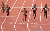 Dafne Schippers of Netherlands wins the womens 200m during day two of the Muller Anniversary Games at The Stadium Queen Elizabeth Olympic Park on...
