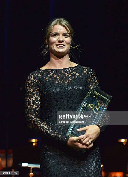 Dafne Schippers of the Netherlands accepts the women's European Athlete of the Year award during the European Athletics Golden Tracks awards ceremony...