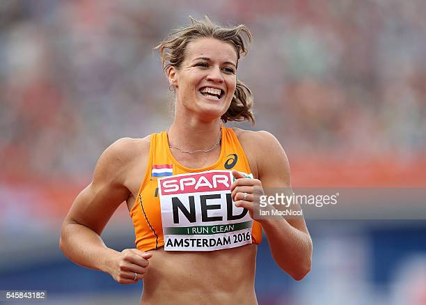 Dafne Schippers of The Netherlands celebrates after winning gold in the final of the womens 4x100m relay on day five of The 23rd European Athletics...