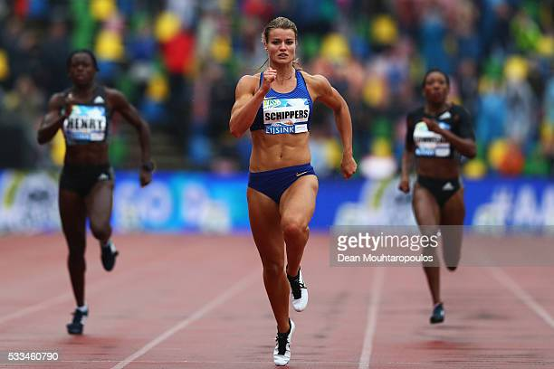 Dafne Schippers of the Netherlands competes and wins the Womens 200m during the AA Drink FBK Games held at the FBK Stadium on May 22 2016 in Hengelo...
