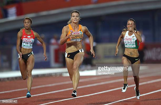 Dafne Schippers of The Netherlands in action during the final of the womens 100m on day three of The 23rd European Athletics Championships at Olympic...