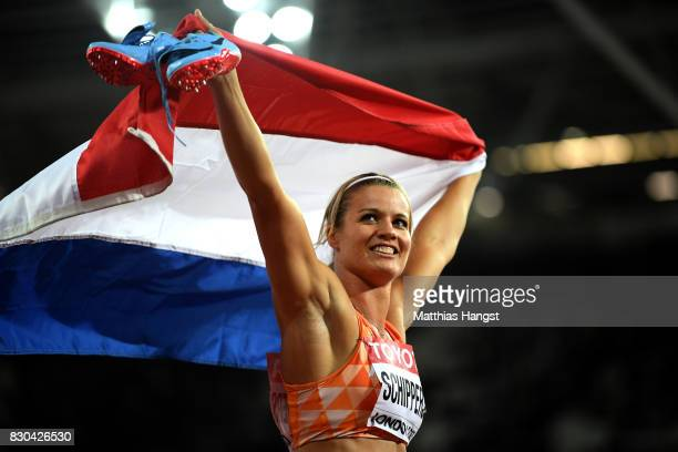 Dafne Schippers of the Netherlands reacts after winning gold in the Women's 200 metres final during day eight of the 16th IAAF World Athletics...
