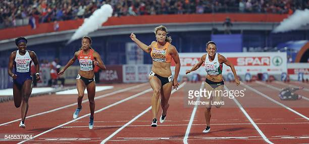 Dafne Schippers of the Netherlands wins the Womens 100m Final during day three of the 23rd European Athletics Championships at Olympic Stadium on...