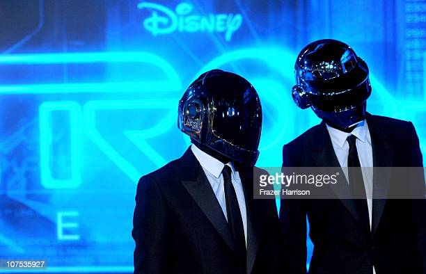 Daft Punk arrives at Walt Disney's 'TRON Legacy' World Premiere held at the El Capitan Theatre on December 11 2010 in Los Angeles California