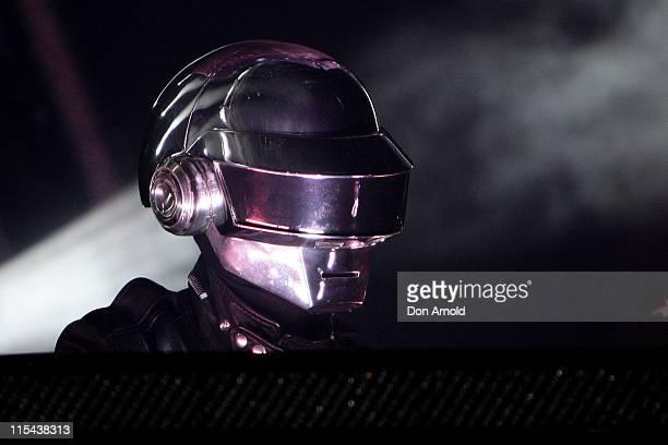 Daft Punk perform on stage at the Sydney Showground on December 22 2007 in Sydney Australia