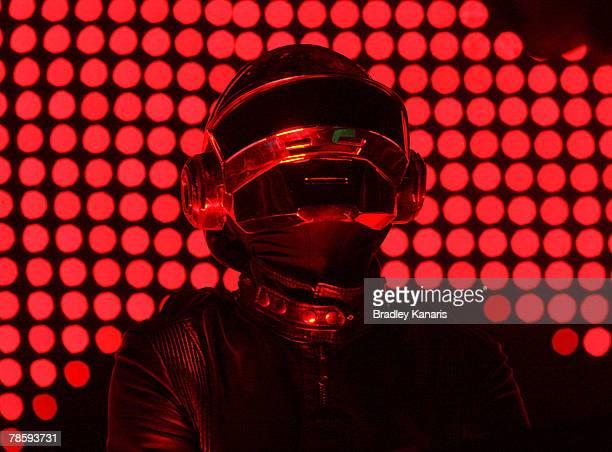 Daft Punk performs on stage at the City Botanic Gardens on December 20 2007 in Brisbane Australia