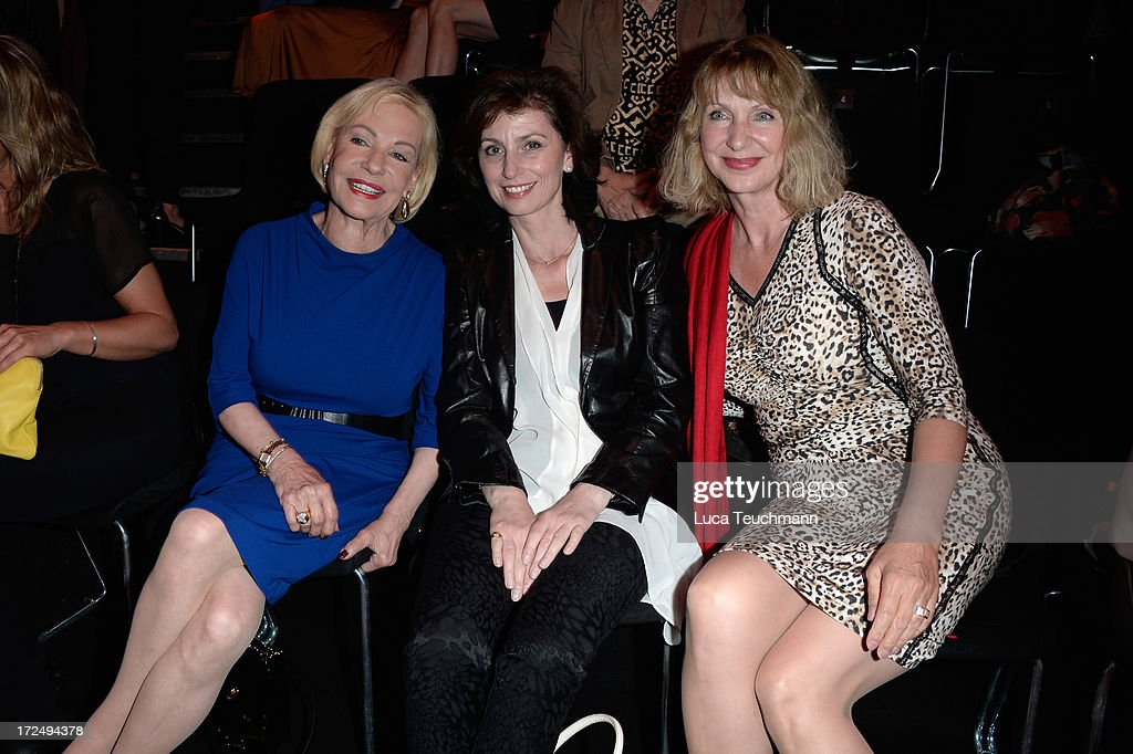 Dagmar Berghoff, Marijam Agischewa and Marion Kracht attend the Riani Show during Mercedes-Benz Fashion Week Spring/Summer 2014 at Brandenburg Gate on July 2, 2013 in Berlin, Germany.
