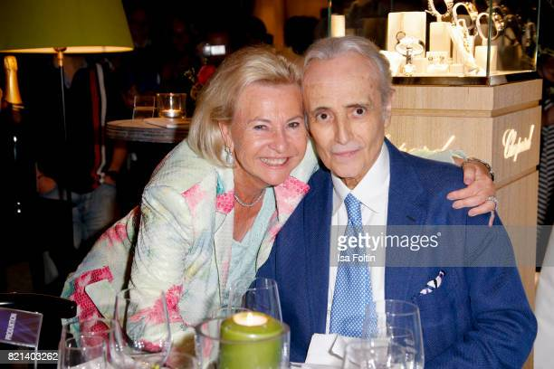 Dagmar Muehlbacher and Jose Carreras after his concert at Thurn Taxis Castle Festival 2017 on July 23 2017 in Regensburg Germany