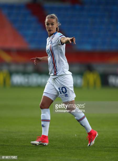 Dagny Brynjarsdottir of Iceland in action during the UEFA Women's Euro 2017 Group C match between France and Iceland at Koning Willem II Stadium on...