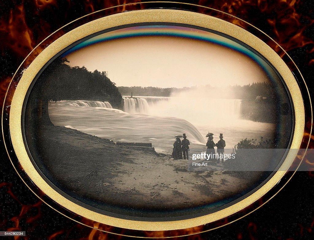 Daguerreotype of couples standing in front of Niagara Falls by Platt D Babbitt c 1855 whole plate daguerreotype in a tortoiseshell frame The J Paul...