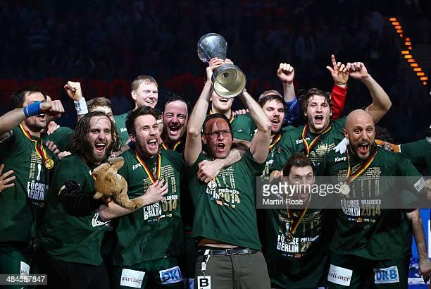 Dagur Sigurdsson head coach of Berlin celebrates after winning the DHB Pokal handball final match between Flensburg Handewitt and Fuechse Berlin at...