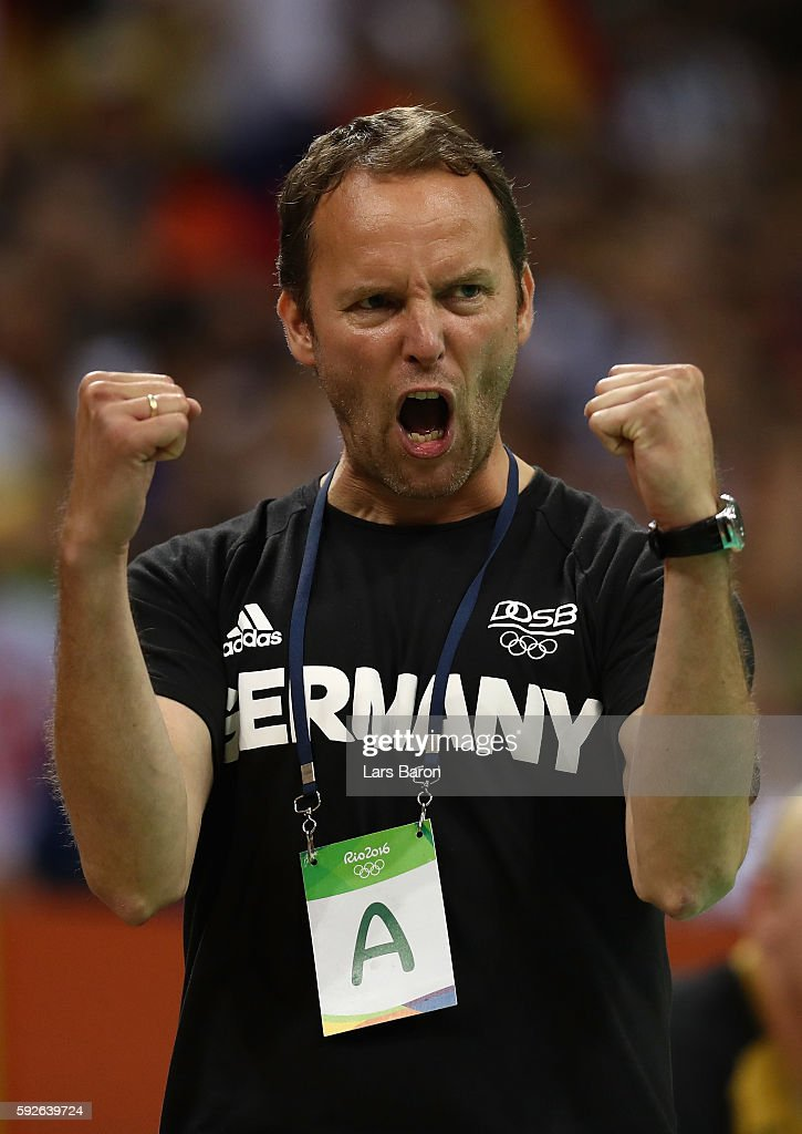 Dagur Sigurdsson of Germany celebrates during the Men's Bronze Medal Match between Poland and Germany on Day 16 of the Rio 2016 Olympic Games at...
