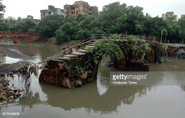 Dahisar Bridge With two of the five stone pillars gone the civic body expects the 400yearold Dahisar Bridge to collapse soon