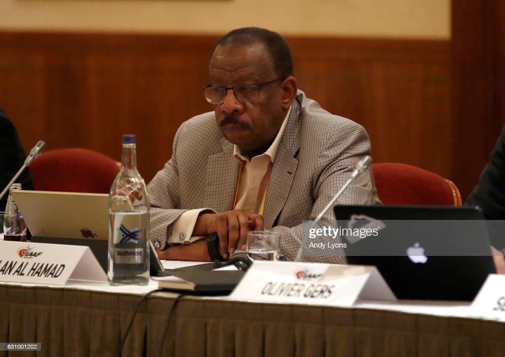 Dahlan Jumaan Al Hamad, Vice President of the IAAF, listens during the 211th IAAF Council Meeting on August 13, 2017 in London, England.