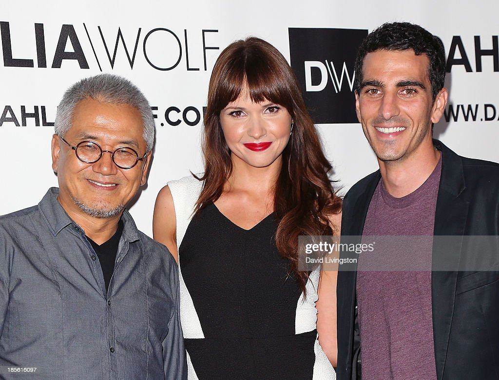 Dahlia Wolf co-founder Charles Park, actress Valerie Azlynn and Dahlia Wolf co-founder Justin Mavandi attend the Dahlia Wolf Launch Party at the Graffiti Cafe on October 22, 2013 in Los Angeles, California.