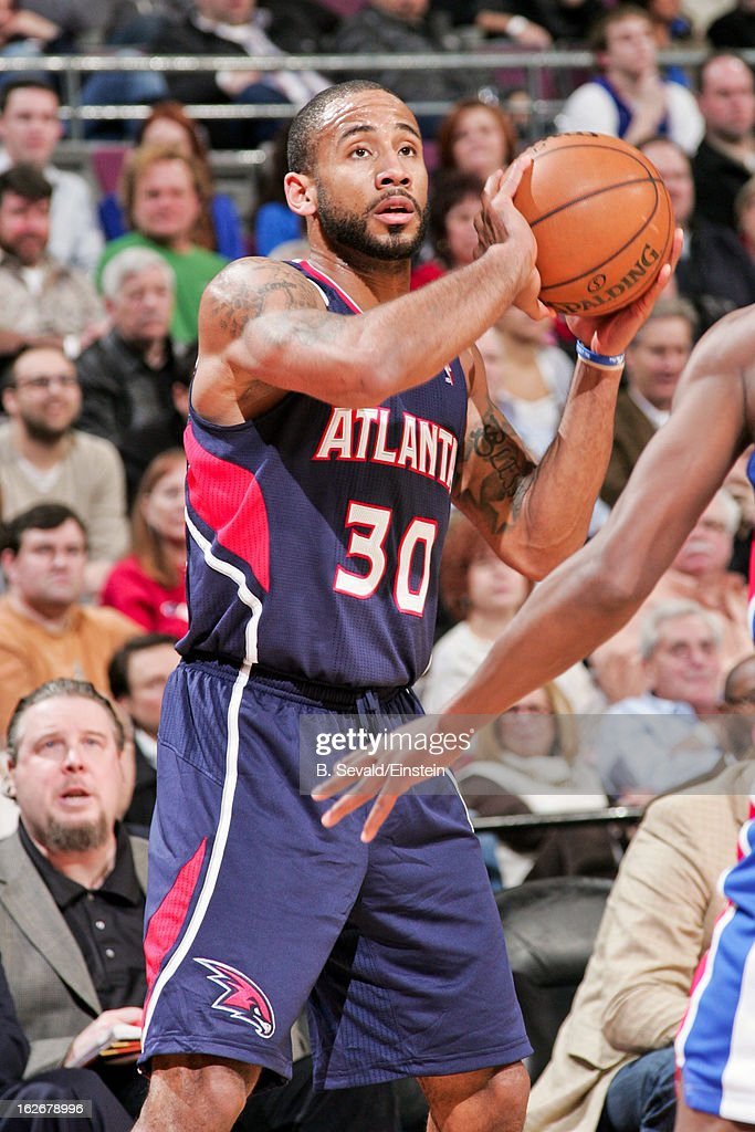 <a gi-track='captionPersonalityLinkClicked' href=/galleries/search?phrase=Dahntay+Jones&family=editorial&specificpeople=202206 ng-click='$event.stopPropagation()'>Dahntay Jones</a> #30 of the Atlanta Hawks looks to shoot against the Detroit Pistons on February 25, 2013 at The Palace of Auburn Hills in Auburn Hills, Michigan.