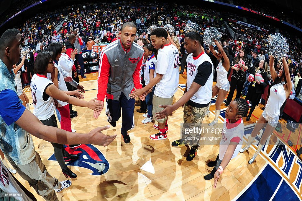 Dahntay Jones #30 of the Atlanta Hawks runs out before the game against the Los Angeles Lakers on March 13, 2013 at Philips Arena in Atlanta, Georgia.