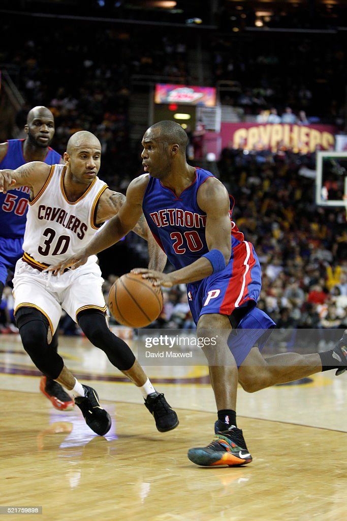 Dahntay Jones of the Cleveland Cavaliers defends against Jodie Meeks of the Detroit Pistons at Quicken Loans Arena on April 13 2016 in Cleveland Ohio...