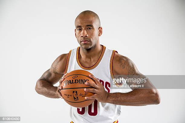 Dahntay Jones of the Cleveland Cavaliers poses for a portrait during 20162017 Cleveland Cavaliers Media Day at the Cleveland Clinic Courts on...